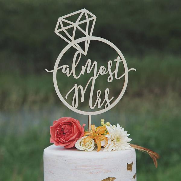 Almost Mrs Bridal Shower Cake Topper