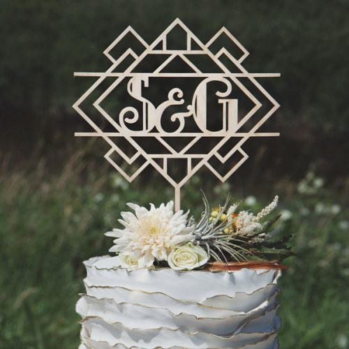 Art Deco Monogram Wedding cake topper
