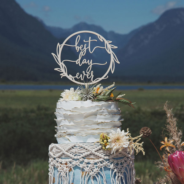 Best Day Ever Rustic Wedding Cake Topper