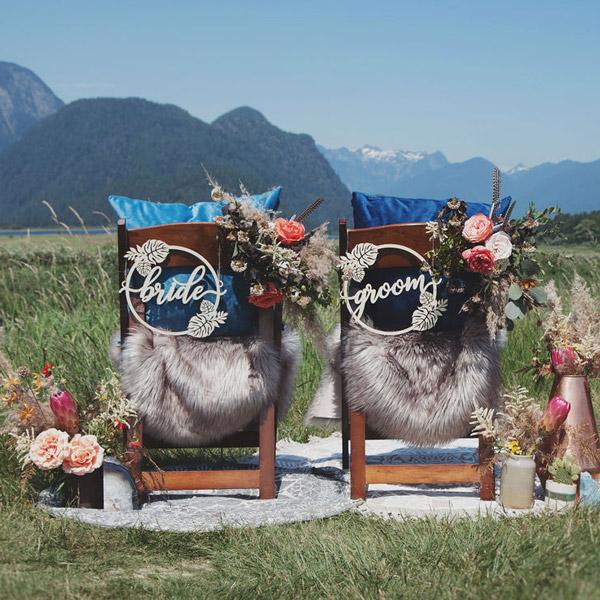 Beach themed wedding chair signs