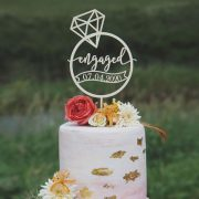 Custom engagement cake topper with date