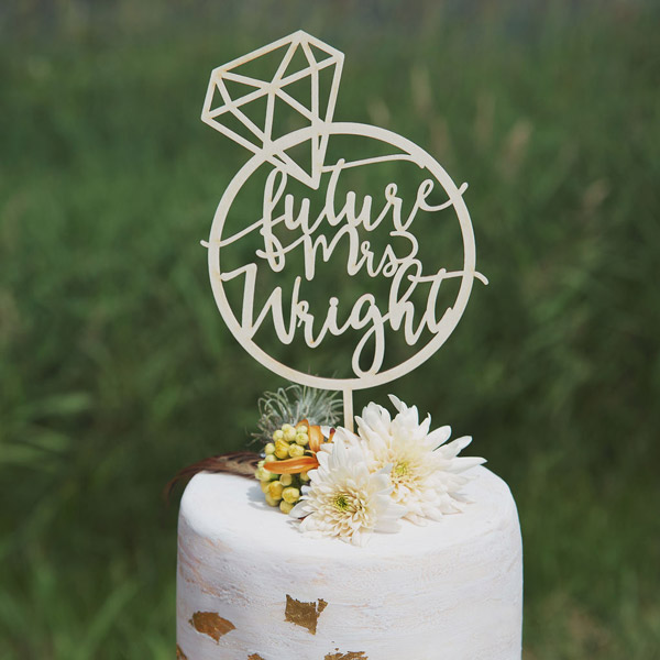 Future Mrs Custom Cake Topper by Thistle and Lace