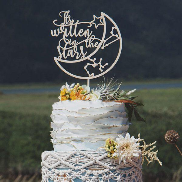 It's written in the stars celestial wedding cake topper