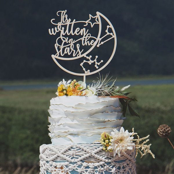 It's written in the stars custom wedding cake topper by Thistle and Lace