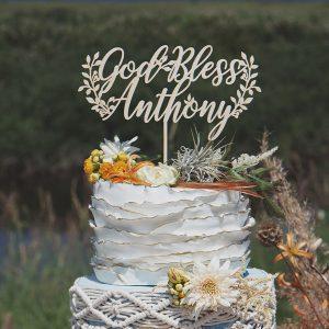 Custom God Bless Baptism Cake Topper