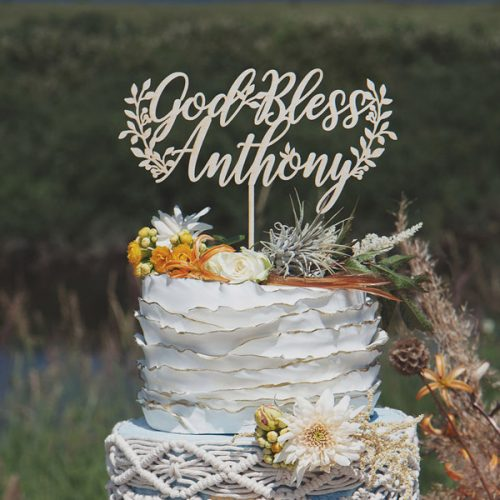 Custom God Bless Baptism Cake Topper