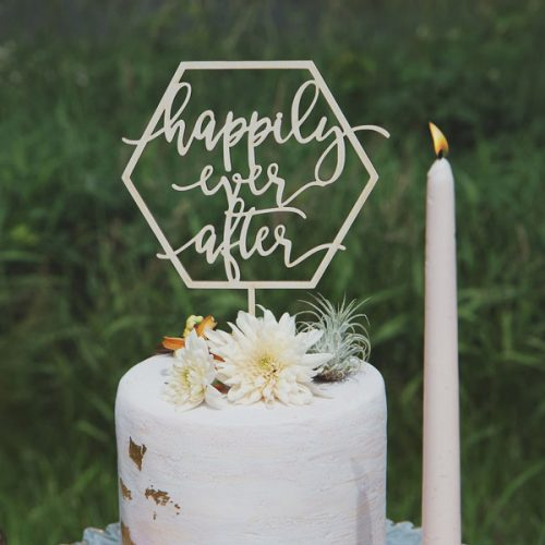 Happily Ever After Modern Wedding Cake Topper
