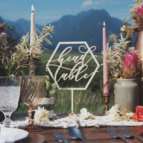 Head Table Sign and Geometric Wedding Decor