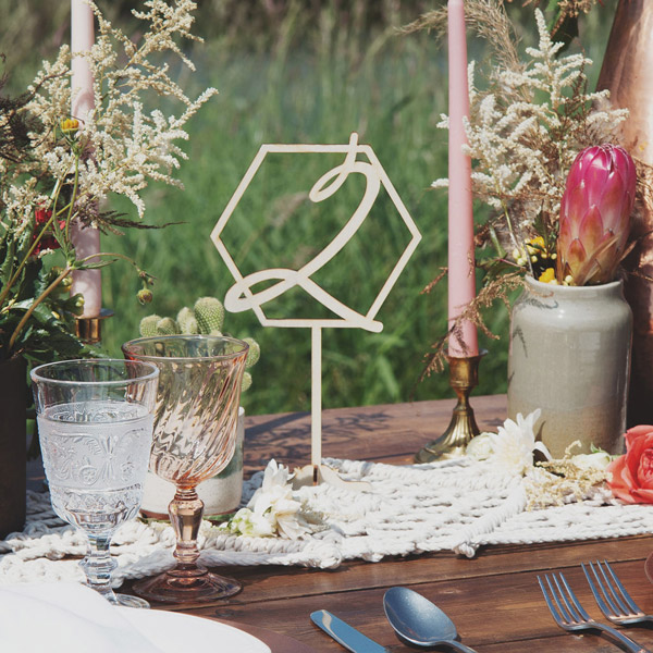 Geometric Wedding Table Numbers by Thistle and Lace
