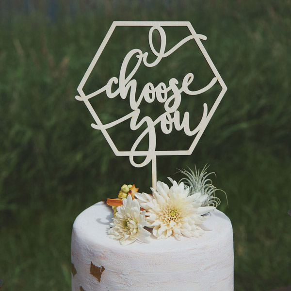 I choose you modern wedding cake topper by Thistle and Lace