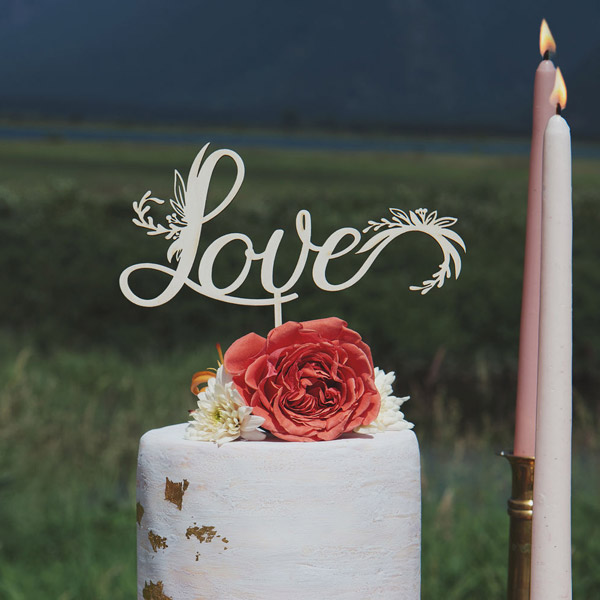 Love Floral Wedding Cake Topper by Thistle and LAce