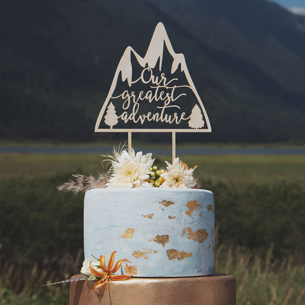 Our greatest adventure mountain cake topper