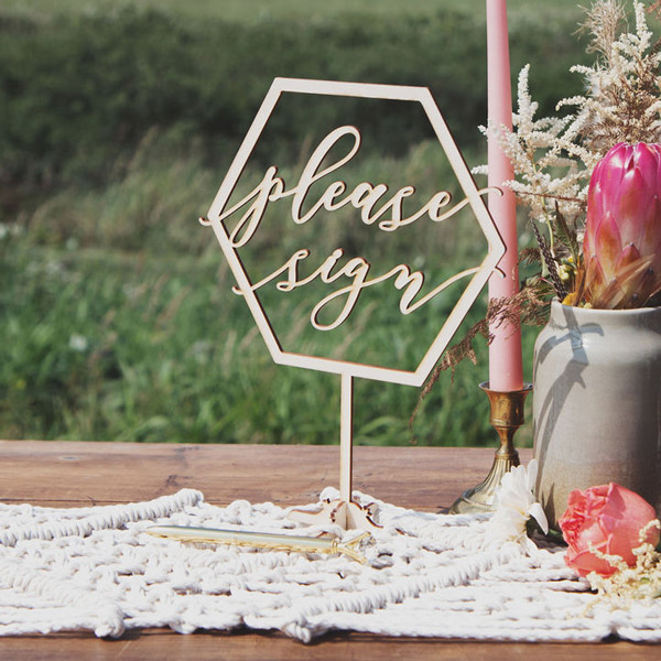 Please Sign Geometric Wedding Table Signs by Thistle and Lace