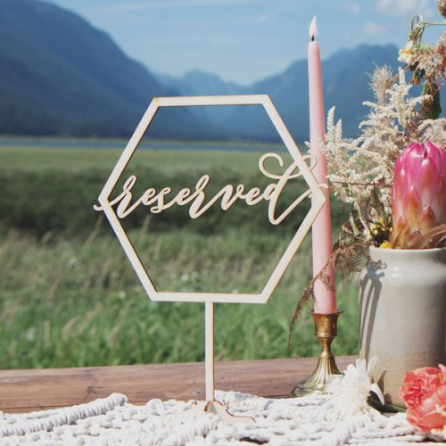 Reserved Sign and Geometric Wedding Decor