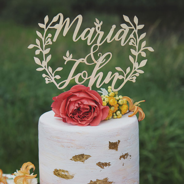 Rustic Name Cake Topper by Thistle and Lace