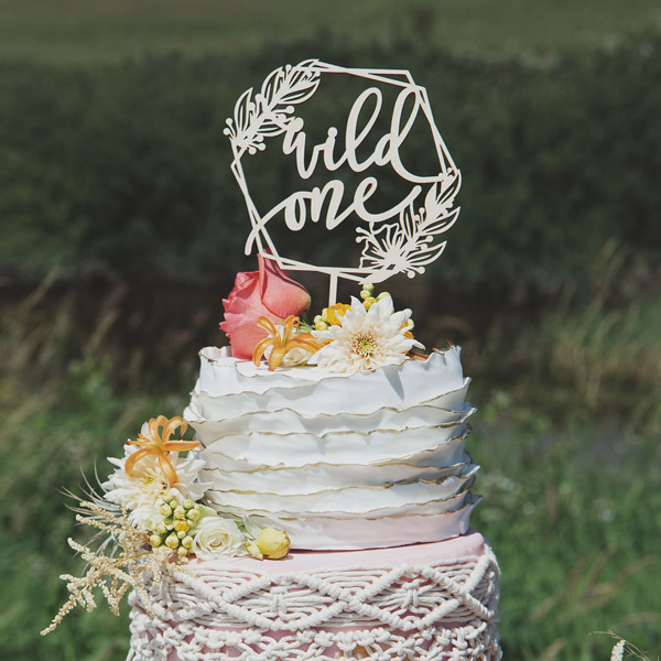 Wild one woodland birthday cake topper