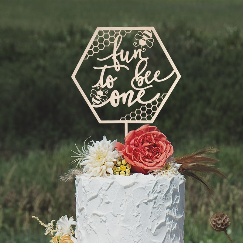 Fun to Bee One First Birthday Cake Topper by Thistle and Lace Designs Inc.