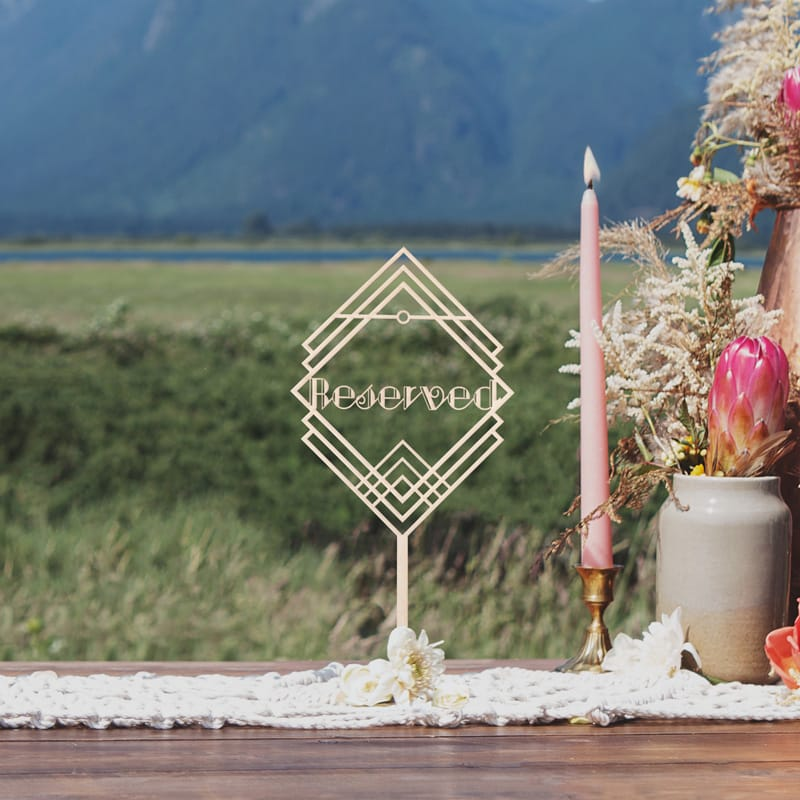 Reserved Art Deco Wedding Sign by Thistle and Lace