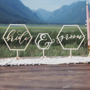 Bride and Groom geometric table signs