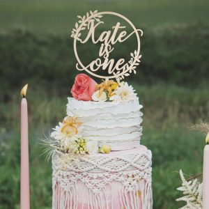 Rustic birthday cake topper