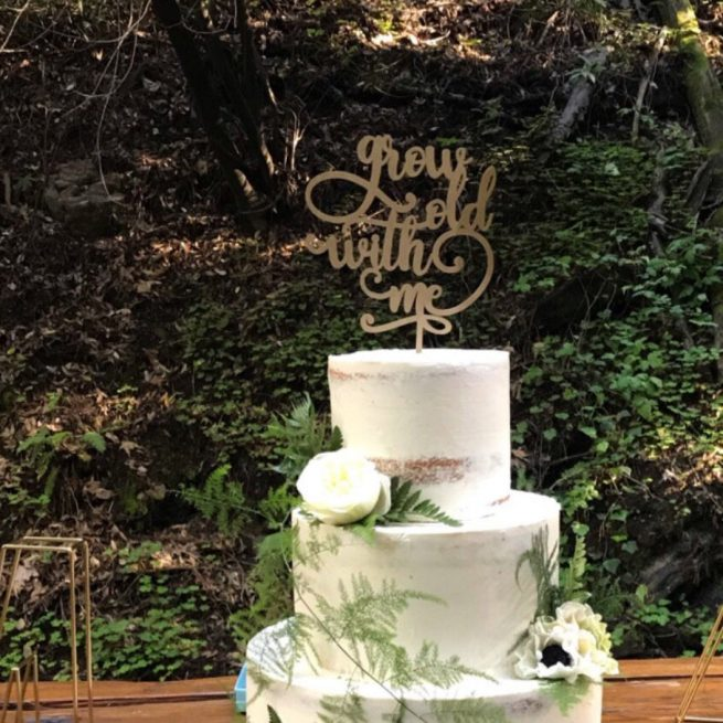Grow Old with me Wedding Cake Topper by Thistle and Lace
