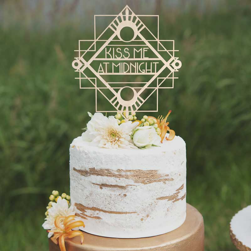 Kiss me at Midnight Wedding Cake Topper by Thistle and Lace