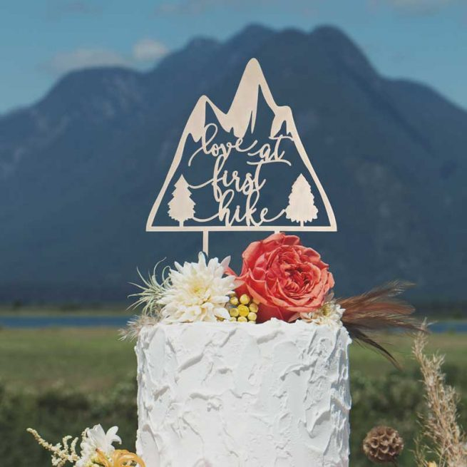 Love at First Hike wedding cake topper