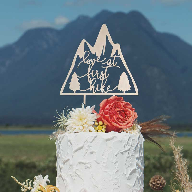 Love at First Hike wedding cake topper by Thistle and Lace