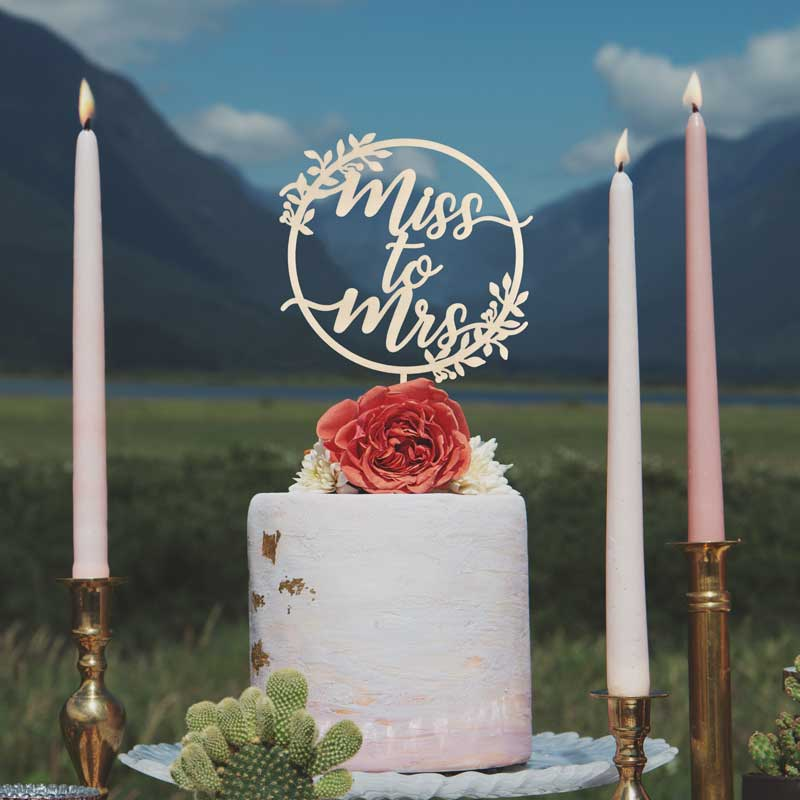 Miss to Mrs Rustic Bridal Shower Cake Topper by Thistle and Lace