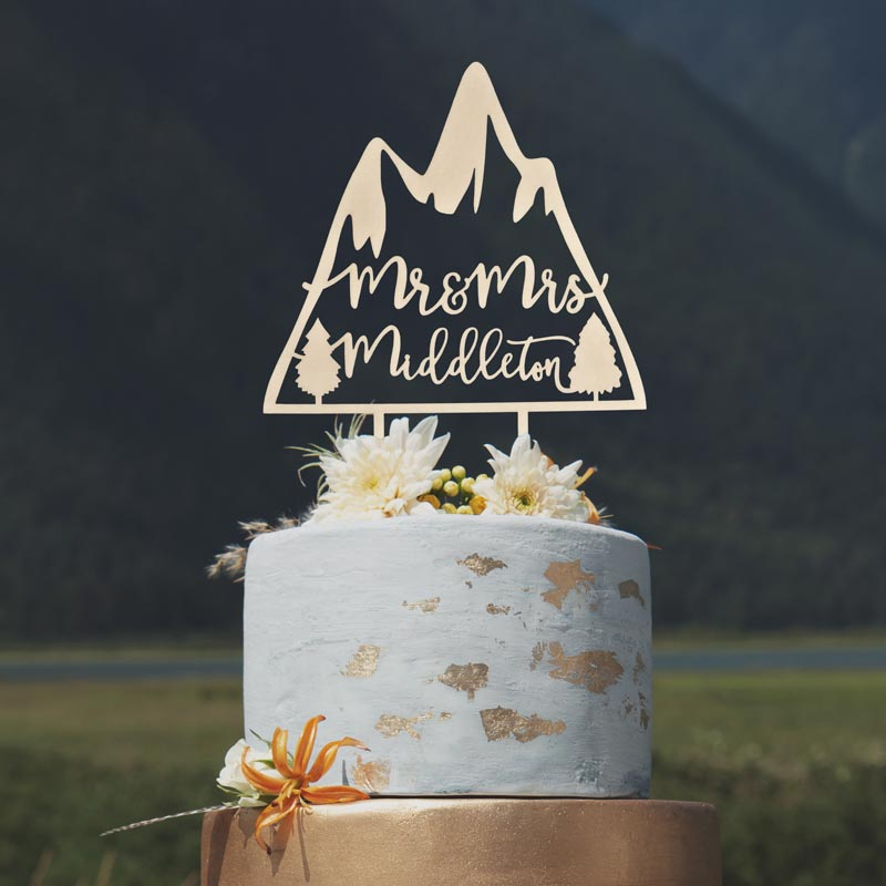 Custom Mr and Mrs mountain wedding cake topper by Thistle and Lace