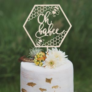 Bee themed baby shower cake topper