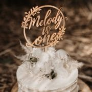 Rustic birthday cake topper by Thistle and Lace