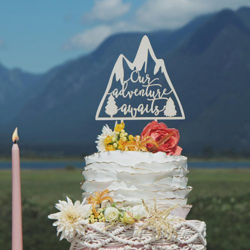Our Adventure awaits wedding cake topper