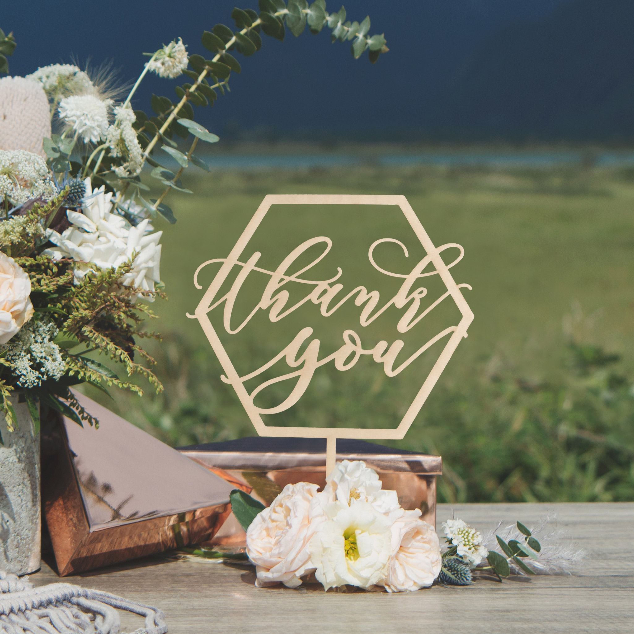 Thank you Geometric Wedding Table Signs by Thistle and Lace