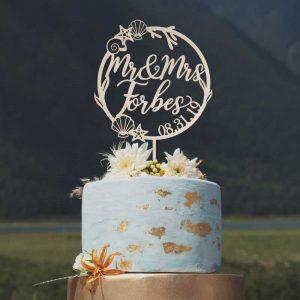 Custom Mr and Mrs Tropical wedding cake topper