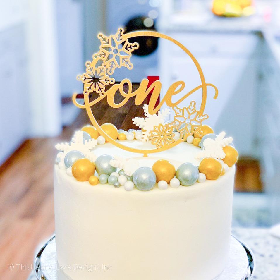 Winter onederland first birthday cake topper