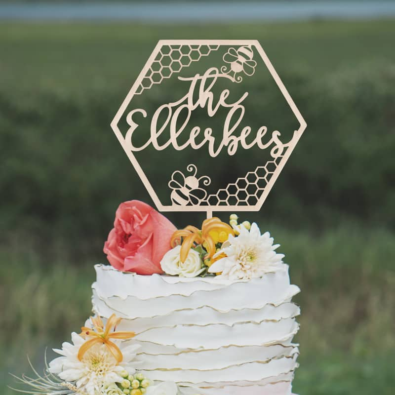 Custom Bee Wedding Cake Topper
