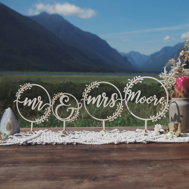 Custom Mr and Mrs rustic table signs