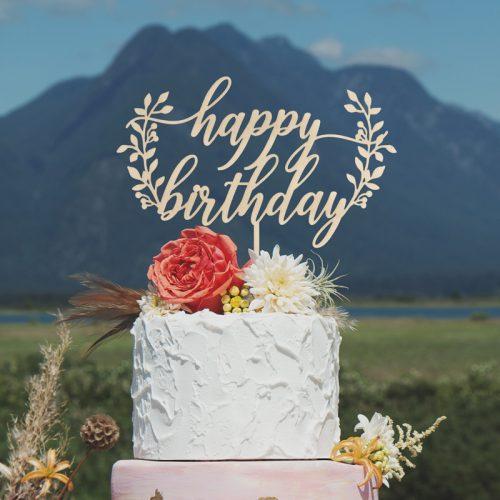 Rustic Happy Birthday Cake Topper