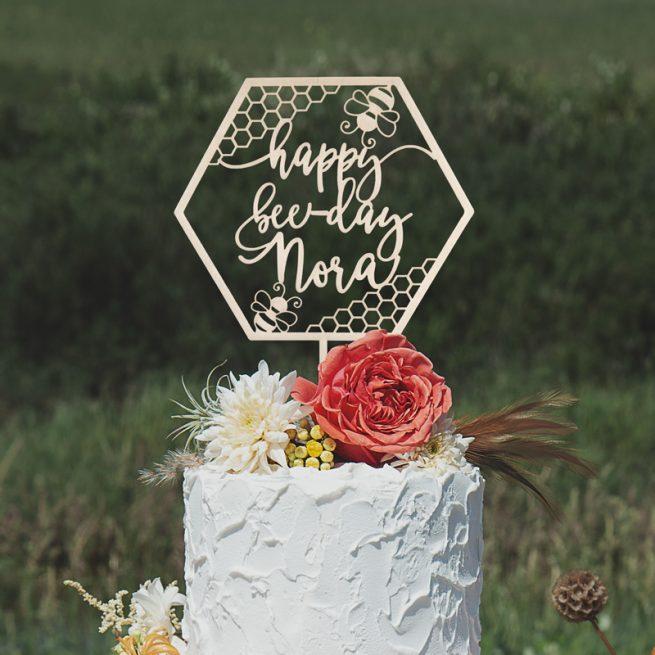 Custom Happy Bee Day Cake Topper