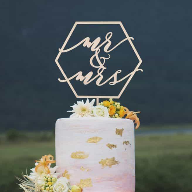 Geometric Wedding Cake Topper
