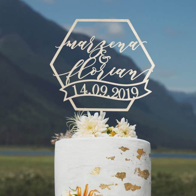 Custom Geometric Wedding Cake Topper