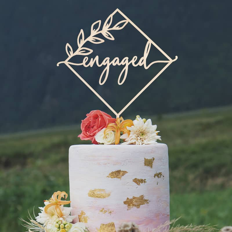 Engaged rustic cake topper by Thistle and Lace