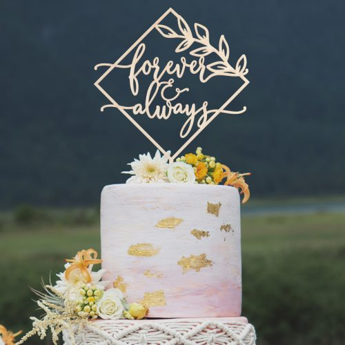 Forever and always wedding cake topper