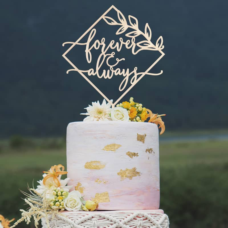 Forever and always wedding cake topper by Thistle and Lace