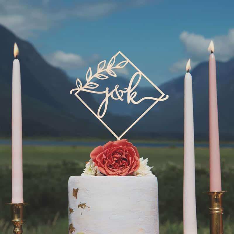 Diamond monogram cake topper by Thistle and Lace