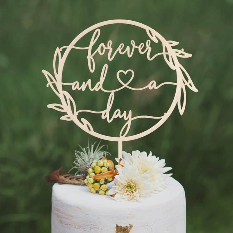 Forever and a day wedding cake topper by Thistle and Lace
