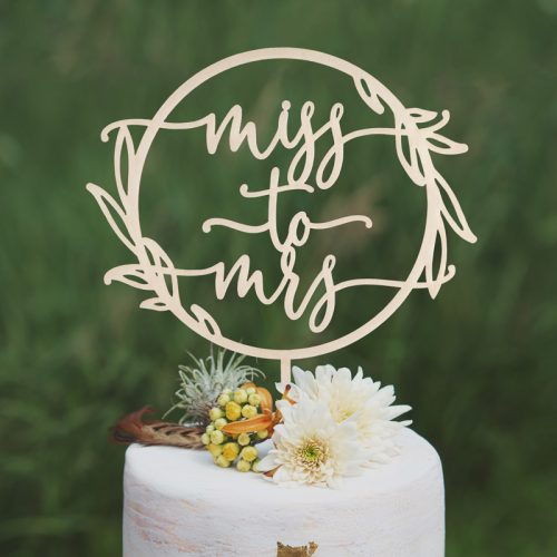 Miss to Mrs Rustic Bridal Shower Cake Topper