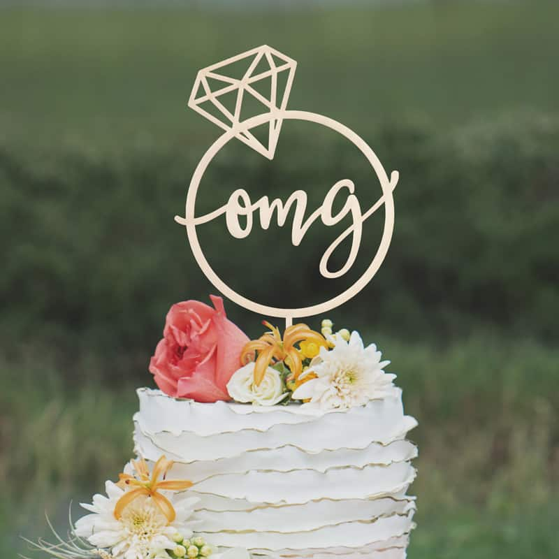 OMG Engagement Cake Topper by Thistle and Lace