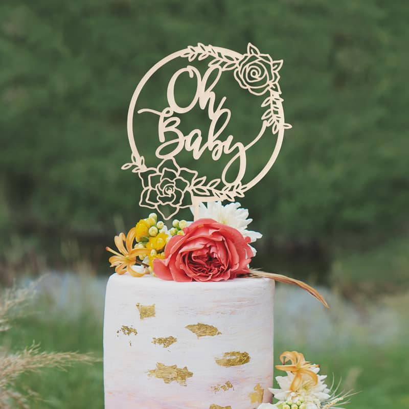 Oh Baby Floral Cake Topper by Thistle and Lace